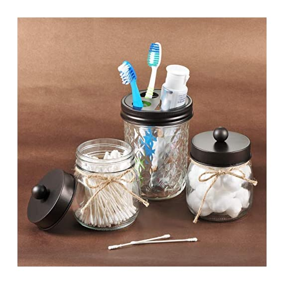Mason Jar Bathroom Apothecary Jars - Rustproof Stainless Steel Lid,Farmhouse Decor,Bathroom Vanity Storage Organizer Holder Glass for Cotton Swabs,Rounds,Ball,Flossers,Bath Salts (Bronze, 2-Pack) - ✅The jars will be a fun,cute and beautiful addition to your home. Ideal home decor, rustic decor, western decor, bathroom decor, farmhouse decor, farmhouse style, western, rustic style, contemporary decor ✅This Mason storage jars are an attractive way to organize items like cotton swabs, cotton balls, flossers,bath salts,hair bands,or any other bathroom necessities and accessories. Plus they're simple and affordable to make! ✅ Materials: 8 oz. mason jars with regular mouth.Mental lids fits well, easy to open,durable and rust-proof.Please kindly note: The lid would not screw onto the jar, so it comes off very easily - organizers, bathroom-accessories, bathroom - 51xu12srSsL. SS570  -
