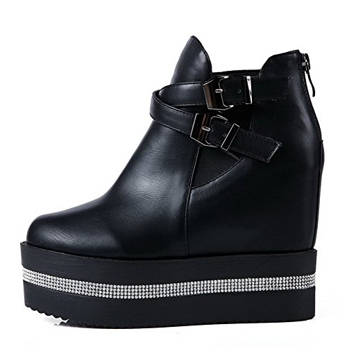 AmoonyFashion Womens High-Heels Solid Round Closed Toe Soft Material Zipper Boots Black 6WZ0q7