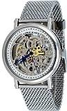 Adee Kaye #AK6462-M Men's Stainless Steel Mesh Bracelet Skeleton Dial Automatic Watch, Watch Central