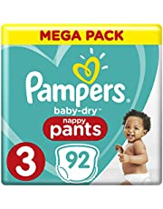 Pampers Baby-Dry Nappy Pants, Size 3 Crawler (6kg-10kg), 92 Nappy Pants, Mega Pack