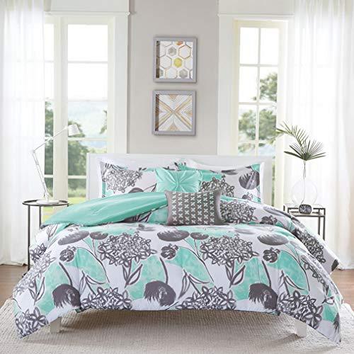 Kaputar Beautiful Modern Chic Contemporary Grey Blue Aqua Beach Comforter Pillows Set | Model CMFRTRSTS - 722 | Queen (Bedskirt Mlb Queen)