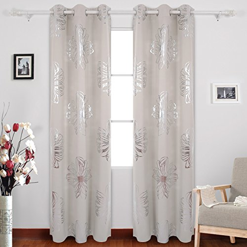 Cheap Deconovo Foil Print Flower Design Thermal Insulated Window Blackout Curtains For Dining Room 42×84 Inch Light Beige Set Of 2