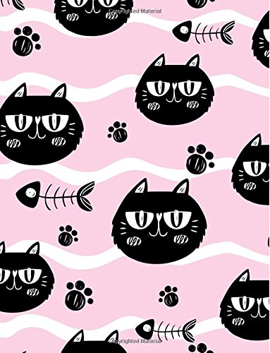 Cat Notebook: Kitty Cat Journal Notebook Lined Ruled Page Book Kids Writing Book Girl Women Teen Diary Pet Paws Fishbone Composition Notebook (121 Page, Large 8.5 x 11 Inches Paperback) - Cover Fishbone