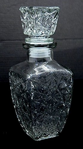 Small-Rectangle-Cut-Glass-Liquor-or-Whisky-Decanter-Stopper-Jar-and-Oil-Bottle-MY-2938