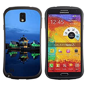 "Hypernova Slim Fit Dual Barniz Protector Caso Case Funda Para Samsung Note 3 [Verde Luces Arquitectura Noche""]"