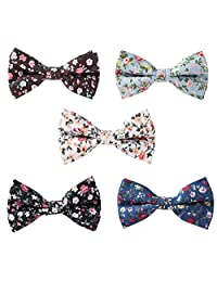 May Lucky Floral Cotton Bow Tie Casual Cotton Cravat Bowtie 5PCS
