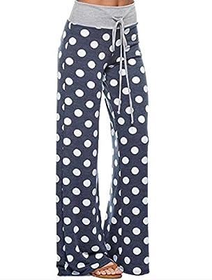 Womens Waist Drawstring Polka Dot Casual Loose Wide Leg Flare Lounge Pants