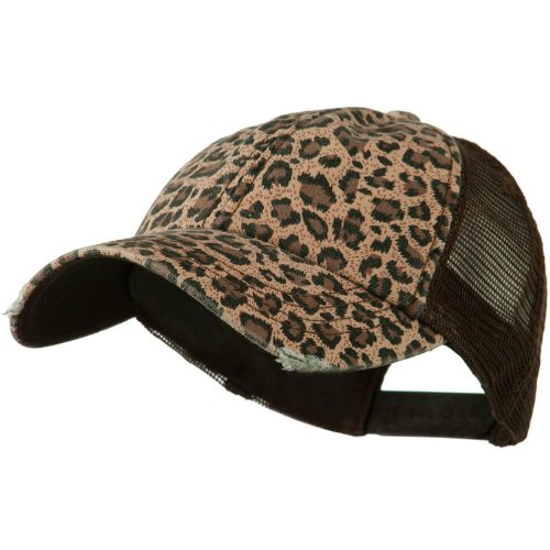 - Wholesale Low Profile Soft Structured Canvas Leopard Print Cap (Brown) - 22065
