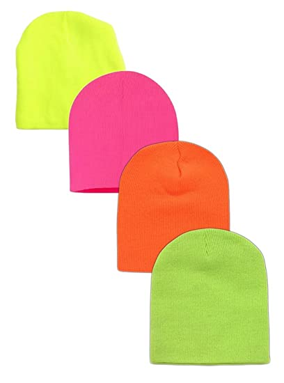 8e4d819d03a Wholesale 4 Pieces Unisex Neon Knit Short Ski Plain Beanie Cap Solid Color  Beany (Assorted Neon) at Amazon Men s Clothing store