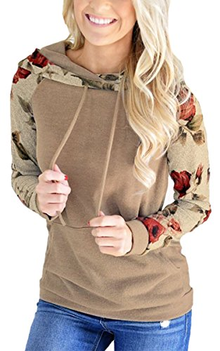Angashion Women's Floral Printed Long Sleeve Pullover Hoodie