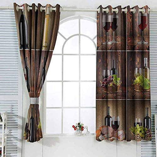 Paddy Benedict Bathroom Curtains Wine,Wine Themed Collage on Wooden Backdrop with Grapes and Meat Rustic Country Drink Brown Black Red Wide Blackout Curtains Warm Curtains 2 Panels W72 x L45