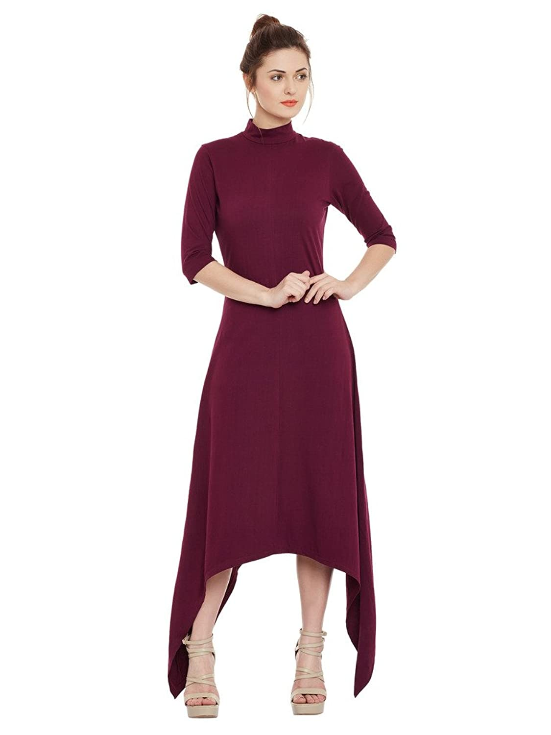 Womens Magenta High neck High-Low Dress