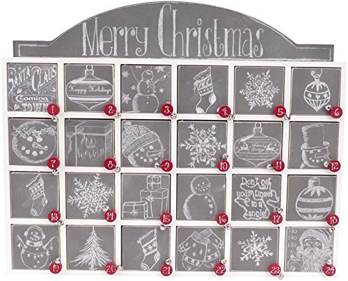 Primitives by Kathy Wooden Advent Calendar with Doors, Chalkboard - Christmas Calendar Box