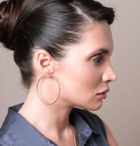Hoop Earrings for Women - Extra Large Rose Gold Hoop Earring - Rose Gold Earrings