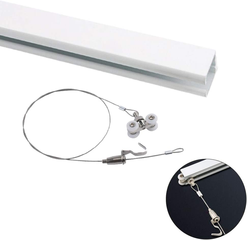 YoYo-ホーム ピクチャーレール U型 0.5m-3.0m ピクチャーレール + ステンレス鋼 ワイヤー 展示用 額縁 絵画 クリックレール 天井面用/ホワイト(0.5m)