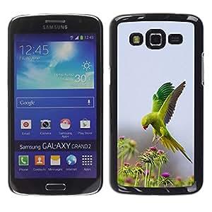YOYOYO Smartphone Protección Defender Duro Negro Funda Imagen Diseño Carcasa Tapa Case Skin Cover Para Samsung Galaxy Grand 2 SM-G7102 SM-G7105 - pájaro flores verdes de primavera la naturaleza loro