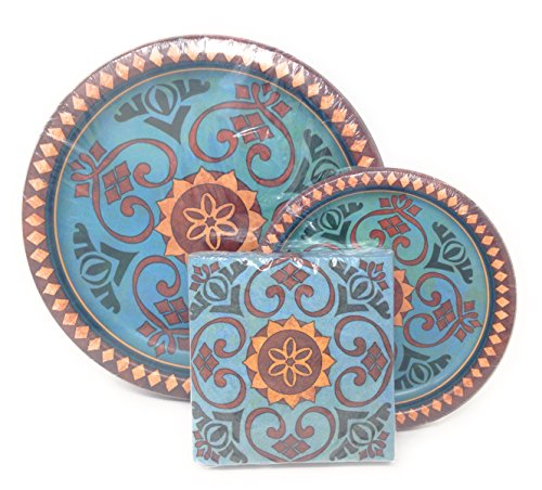Talaveras Autumn Collection Party Plates and Napkins Fall Colors Turquoise Tan Brown Thanksgiving Dishes