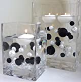 Unique Elegant Vase Fillers - 40 Jumbo Black Pearls and White Pearls - Wholesale. NOT INCLUDING THE TRANSPARENT WATER GELS FOR FLOATING THE PEARLS (SOLD SEPARATELY).