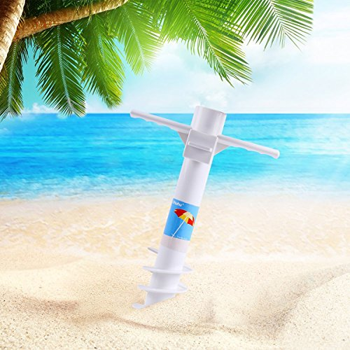 Ohuhu Beach Umbrella Sand Anchor Stand Holder with 5-Tier Screw, One Size Fits All Safe for Strong Wind by Ohuhu