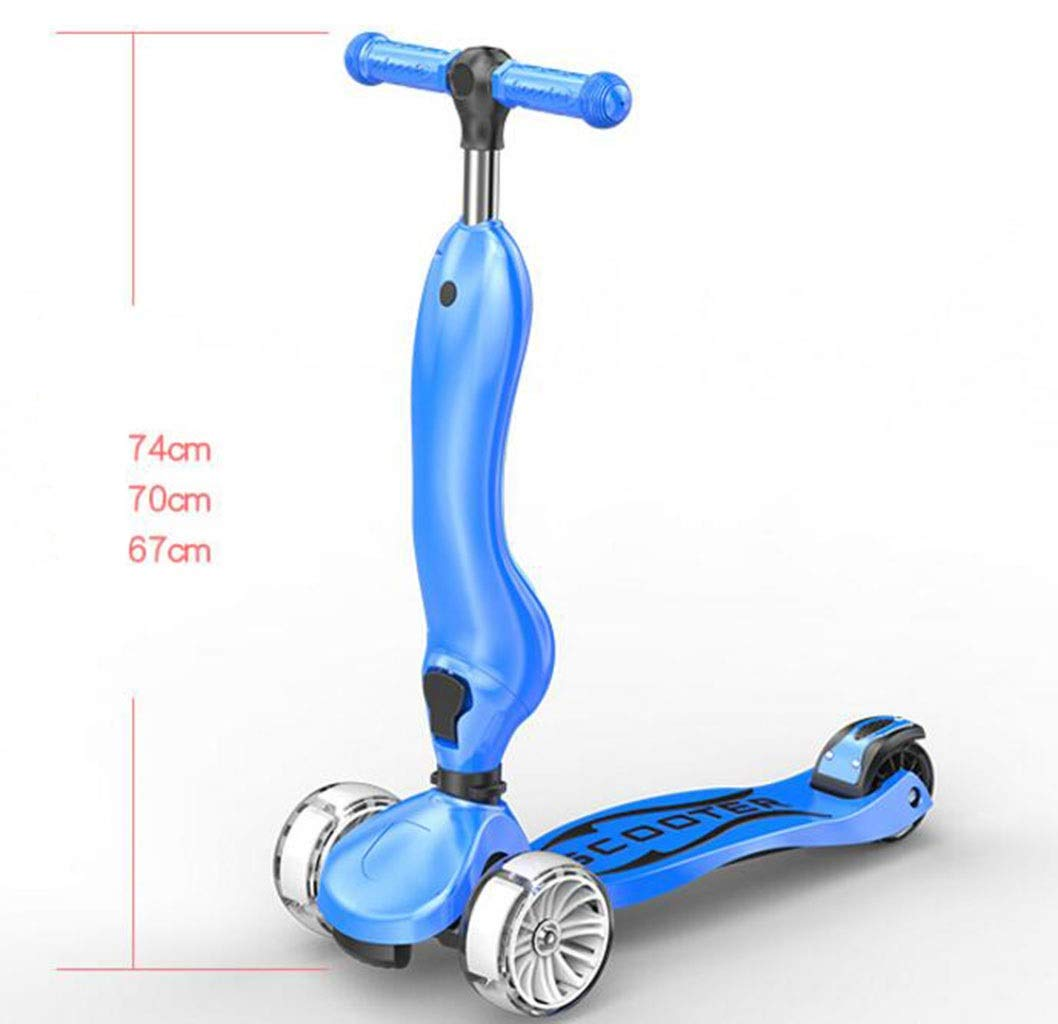 Children's scooter kick scooter children's kids 3 wheel scooter, 2 in 1 super wide wheel kids scooter, one button conversion adjustable height handle, scooter children boys and girls 1 or more childre by JBHURF (Image #3)