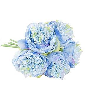 Tanpell Silk Peony 5 Heads Artificial Flower Bunch Bridal Bouquet Wedding Garden Home Decoration 110