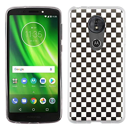 (For Motorola MOTO G6 Play / G6 Forge Case, OneToughShield TPU Gel Protective Slim-Fit Phone Case - Checker B/W)