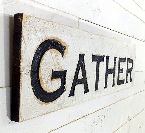 Gather Sign Horizontal - Carved in a Cypress Board Rustic Distressed Kitchen Farmhouse Style Restaurant Cafe Wooden Wood Wall Art Decoration Wood Carved Folk Art
