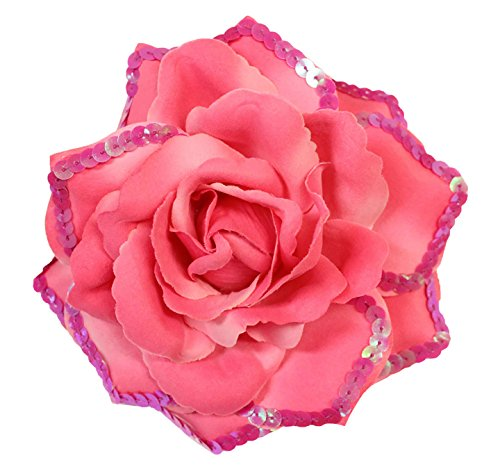 WD2U Large Sequin Rose Flower Hair Bow Clip Brooch Pony Dk Pink 1148 (Sequin Flowers Brooch)