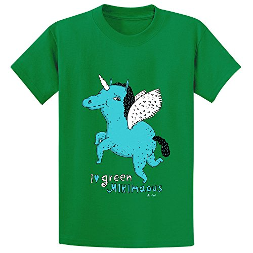 Likeu I Love Green Mikimaous White Kid's Short Sleeve Crew Neck Shirts Green