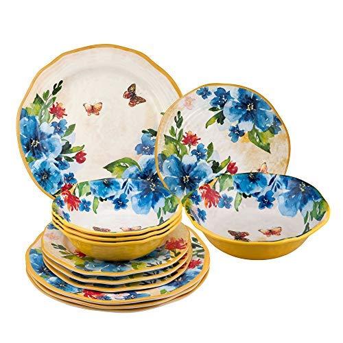 Gourmet Art 12-Piece Butterfly Melamine Dinnerware Set