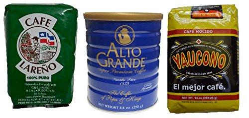 Puerto Rican Variety Pack Ground Coffee - 3 Local Favorites Yaucono, Alto Grande, Lareno (1 Pack)