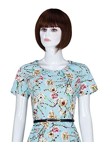 Elegante Floreale Delle Stampato Vestito Cintura Blu Dell'annata Adamaris Di Con Donne Estate light 154 Dall'oscillazione EzqrTz
