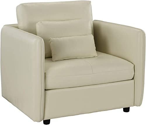 Classic Club Style Living Room Armchair, PU Leather Accent Chair Beige