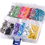 400pcs Mixed Colors Cone Spikes Screwback Studs DIY Craft Cool Rivets Punk Stud Coincal 7x15mm 1/4''x5/8''