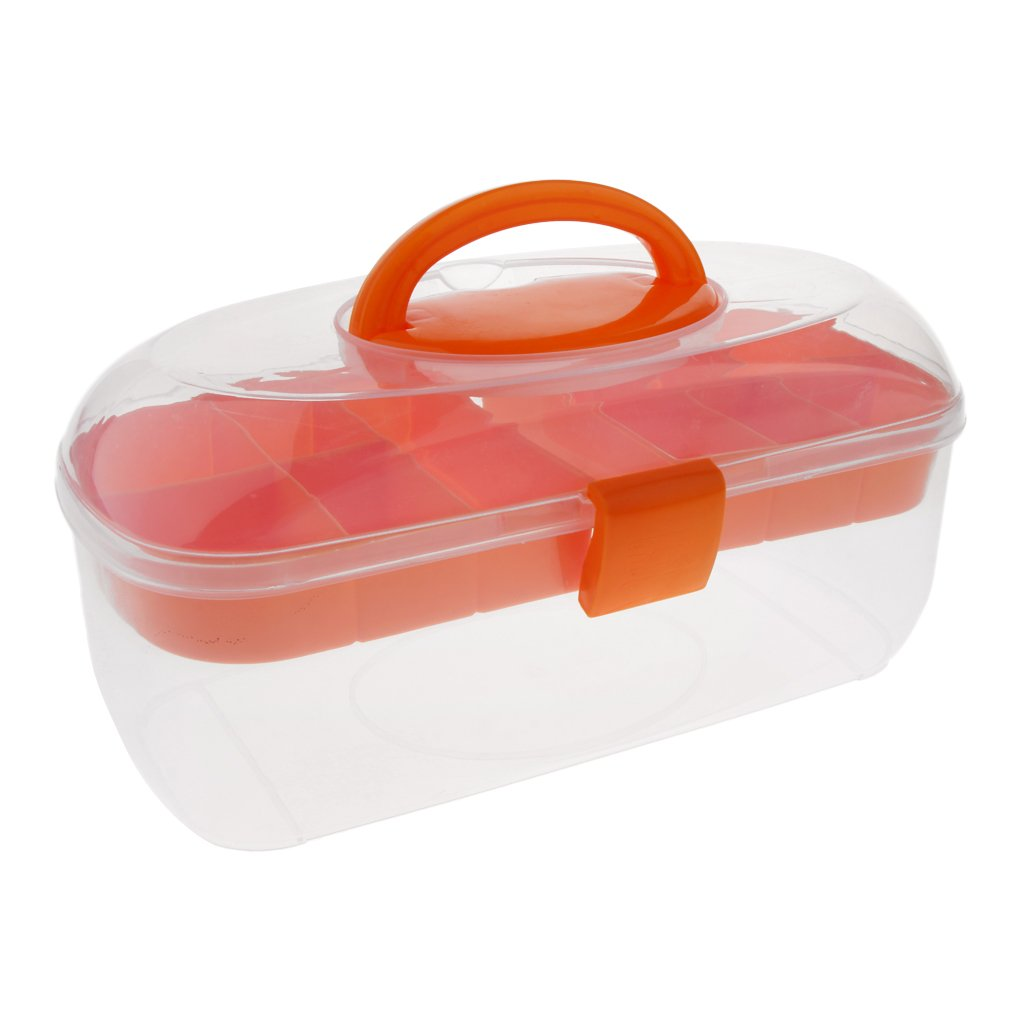 MagiDeal 2 Layered Plastic Nail Art Tools Storage Box Brushes Pens Organizer Case - Orange