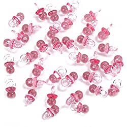 Pink Acrylic Baby Pacifiers Baby Shower Decoration Table Scatter (Pink (144 Pieces))