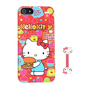Euclid+ - Hamburger in the Hand Noctilucent Hello Kitty Style Hard Case Cover for Apple iPhone 5 5s 5th 5g 5Generation with Hello Kitty Style Cable Tie