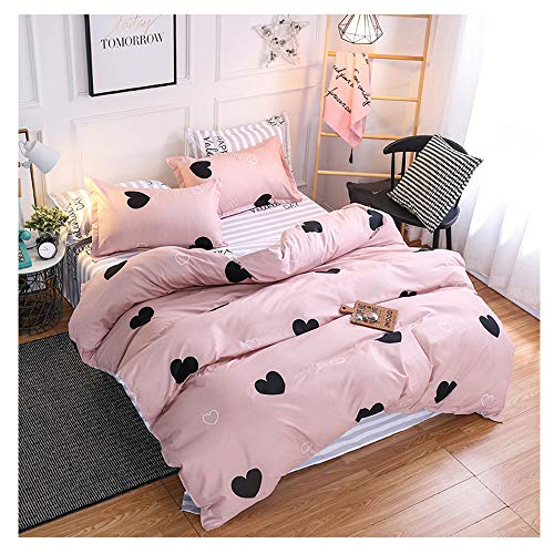 ORIHOME Bed Set Full Sheets Set Love Heart Print- 3 Piece Bedding Sets One Duvet Cover Two Pillowcase- Soft Microfiber Teen Bedding for Bedroom(Without Quilt) (Love Heart,Pink, Full,80''x86'')
