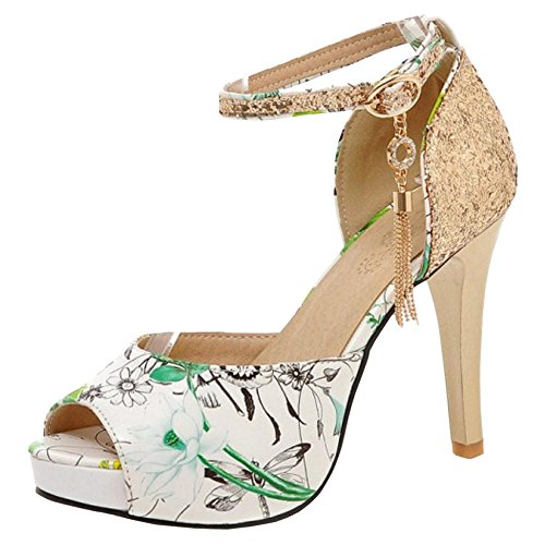 Shoes Toe Green Coolcept Sandals Fashion Peep Women Floral xq4wPX