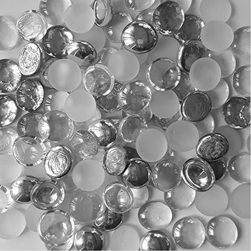 45 Color WeJe Glass Gems Standard 17-21mm Round Flat Back Marbles for Home Decor Art Craft Vase Filler Aquarium Gravel (14oz, Mix Silver/Frost White/Clear) ()