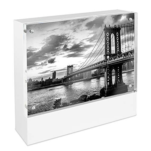 Jacob Block - Isaac Jacobs Wood Block Acrylic Picture Frame, 4x6 White