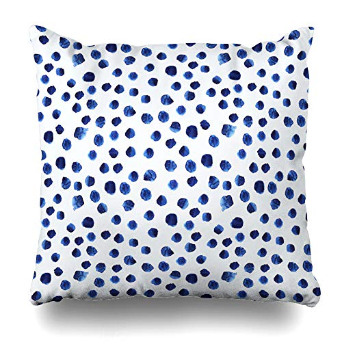 Decorativepillows Case Throw Pillows Covers for Couch/Bed 18 x 18 inch,Navy Paint Blue Watercolor Polka Dot Watercolour Brushstroke Sofa Cushion Cover Pillowcase Bed Car Living Home (Best Navy Blue Paint Color)