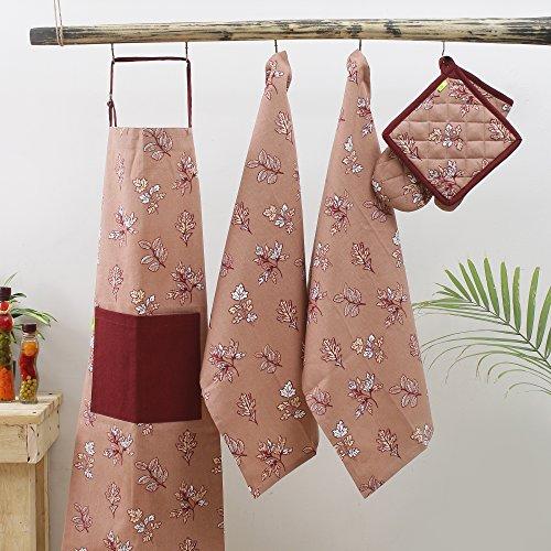 Kitchen combo Set, 100% Cotton, Set of Apron + Oven Mitten + Potholder & Pair of Kitchen towel, Eco - Friendly & Safe, Autumn Leaves on Brown Skies Design for ()