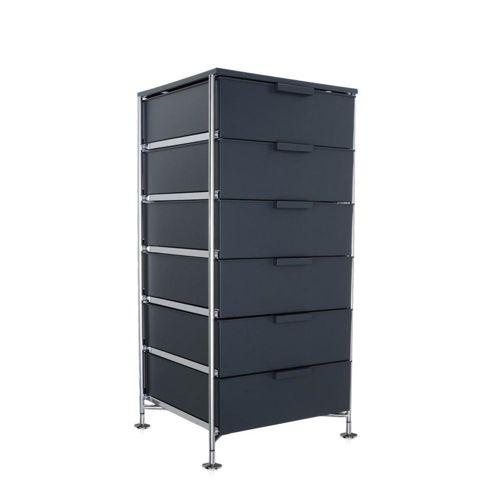 Kartell 2041L5 Container Mobil, 6 Schubladen, matt schiefergrau