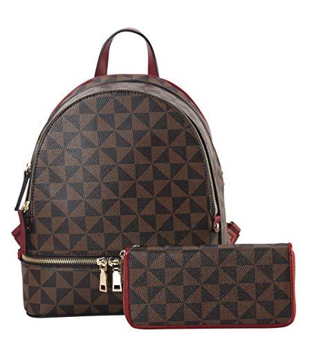 Leather Mini Backpack Purse for Women Shoulder Bag Rucksack with Wallet Fashion Multi Pocket Handbag Red Satchel Purse 2pcs Messenger Bags