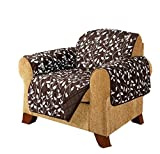 MN 1 Piece Chocolate Brown Floral Theme Chair Protector, Geometric Flower Pattern Couch Protection Flowers Floral Plants Leaves Furniture Protection Cover Pets Animals Covers Nature Motif, Polyester