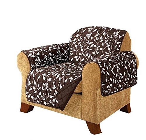 MN 1 Piece Chocolate Brown Floral Theme Chair Protector, Geometric Flower Pattern Couch Protection Flowers Floral Plants Leaves Furniture Protection Cover Pets Animals Covers Nature Motif, Polyester by MN