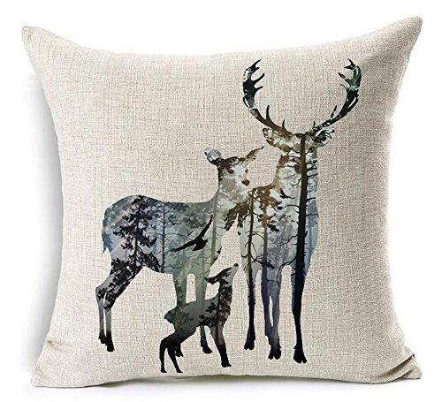 Ink Painting Tropical Rainforest In Animals Elk Bucks Sweet Family Christmas Gift Cotton Linen Throw Pillow Case Personalized Cushion Cover NEW Home Office Decorative Square 18 X 18 Inches