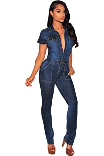 OUR WINGS Women Dark Denim Collared Top Button Down Jumpsuit With Pocket