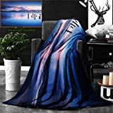 Unique Custom Double Sides Print Flannel Blankets Apartment Decor Wooden Pier Tops Remain In Lake With Sunset Mirror Image Out Diffe Super Soft Blanketry for Bed Couch, Throw Blanket 60 x 40 Inches